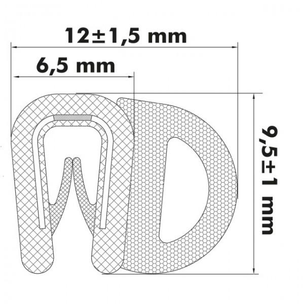 Kantenschutzprofil 1-2 mm, 9,5 x 6,5/8,8mm, Schwarz
