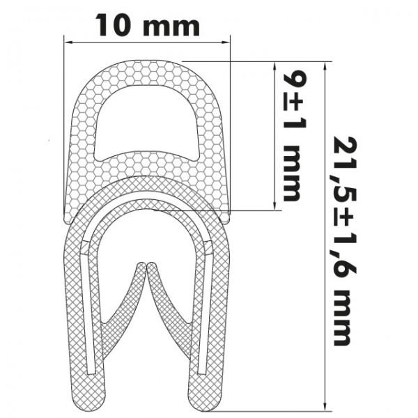 Kantenschutzprofil 1-4 mm, 21 x 10,4/8,5mm, Schwarz