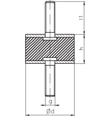 Gummi-Metall-Puffer Typ A 30X30 M8X20