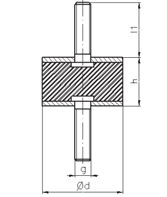 Gummi-Metall-Puffer Typ A 40X40 M8X23