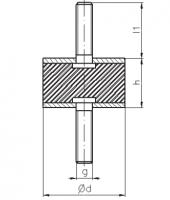 Gummi-Metall-Puffer Typ A 25x25 M6x18