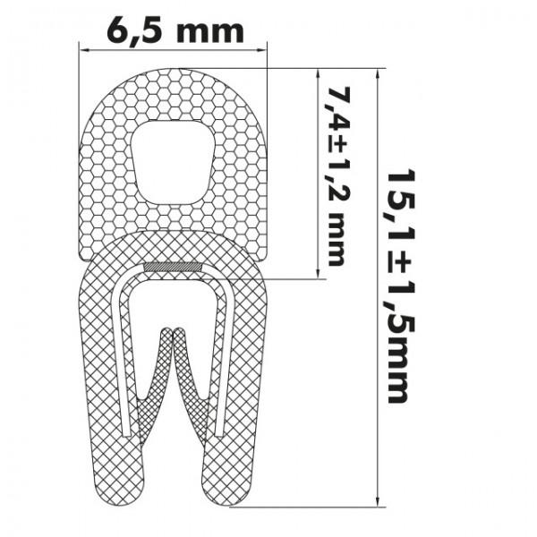 Kantenschutzprofil 1-2 mm, 15,1 x 6,5/7,4mm, Schwarz
