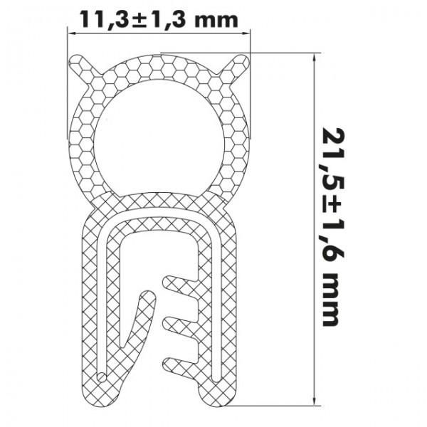 Kantenschutzprofil 1-3 mm, 21,5 x 11/10,7mm, Schwarz