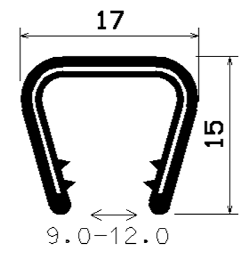 Kantenschutzprofil 9-12 mm, 15 x 17mm, Schwarz